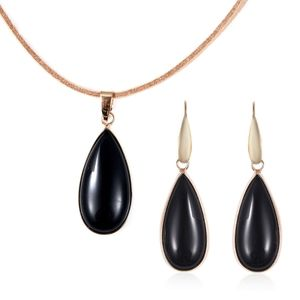 Jewelry - Black Agate, Faux Leather Earrings and Pendant Set
